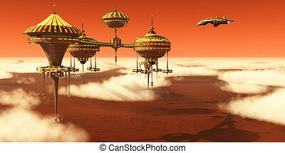 A Mars planet colony in the upper atmosphere orbits around the red planet as Earth scientists study it.