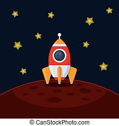mars., vecteur, atterrissage, fusée, espace