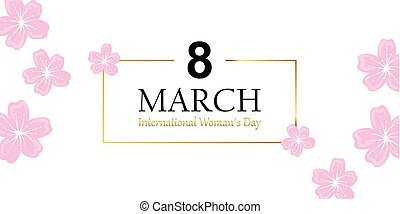 mars, womans, blomma, körsbär, hälsning, dag, kort, 8