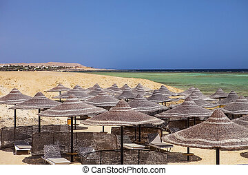Marsa Alam (Red Sea), Egypt - Egyptian parasol on the beach ...