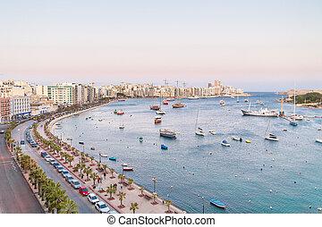 marsamxett, valletta, malta., a través de, sliema, contorno, ocaso, panorama, seafront, harbour., vista