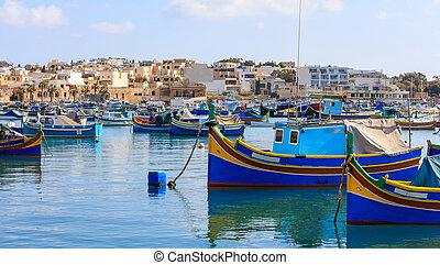 marsaxlokk, ψαράδες , χωριό , μέσα , malta., παραδοσιακός ,...
