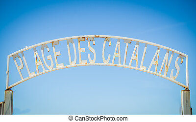 Marseille Beach Sign - Rustic Sign At Plage des Catalans In ...