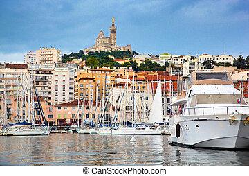 marseille, célèbre, harbour., panorama, france