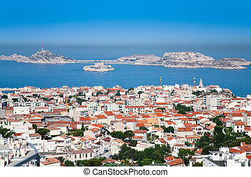 marseille, chateau, vue, if, france