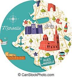 Marseille city vector map illustration