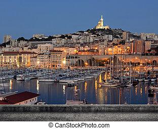 Marseille cityscape with famous landmark Notre Dame de la ...