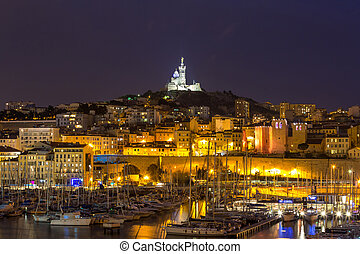 Marseille France night - Marseille, France at night. The ...