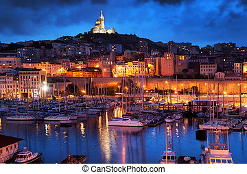 Marseille, France panorama at night, the harbour and ...