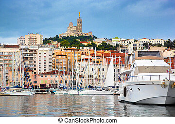 Marseille, France panorama, famous harbour. - Marseille, ...