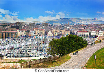 Marseille, France panorama, famous harbour. - Marseille,...