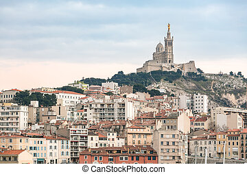 Marseille France sunset - Marseille, France sunset. The ...