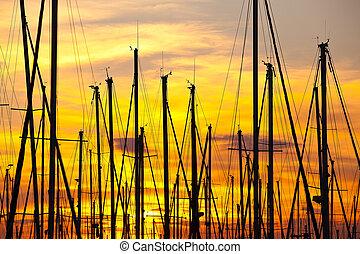 marseille, port, coucher soleil, france