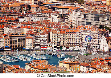 Aerial view of Marseille Vieux-Port and the Ferris Wheel at sunny day