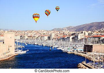 marseille, vue, aérien, ville, port