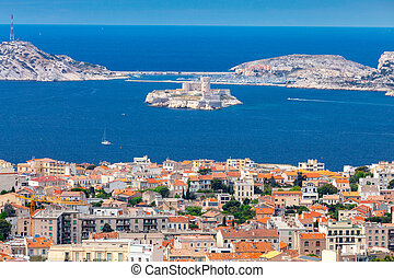 Marseilles. Aerial view of the island If on a sunny day.