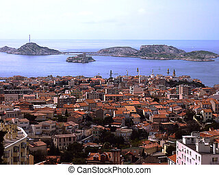 Marseilles and Frioul islands, France - View of Marseilles ...