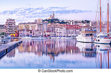 Marseilles city old port, Provence, France - The old Vieux ...