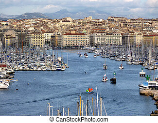 View of the old port of Marseilles by sunset, France