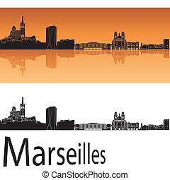 Marseilles skyline in orange background - Marseille sskyline...