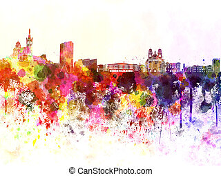 Marseilles skyline in watercolor background