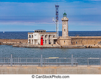 Marseilles. View of the old lighthouse. - Old stone ...