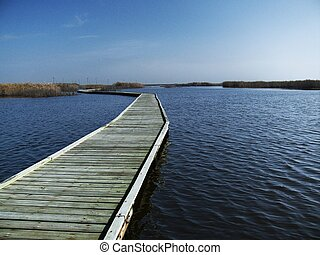 Marsh boardwalk - A boardwalk into the marshes at Sea Rim...