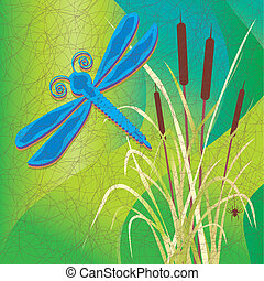 Marsh, Cattails, Batik Fabric Style - Dragonfly over a...
