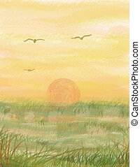 Marsh Sunset - My design for a background using the theme of...