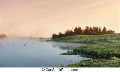 Marsh sunset - Misty sunrise on  marsh