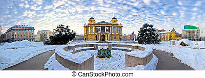 Marshal Tito square in Zagreb panorama, winter view of...