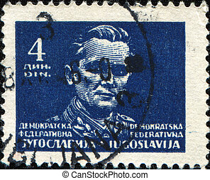 Marshal Tito - YUGOSLAVIA - CIRCA 1945: A stamp printed in...