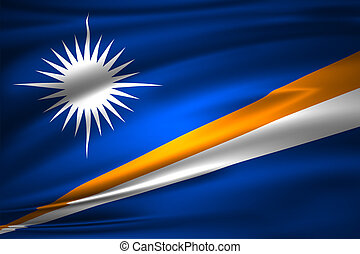 Marshall Islands 3D waving flag illustration. Texture can be used as background.