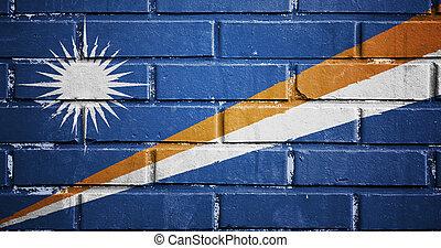 Marshall islands flag on brick wall