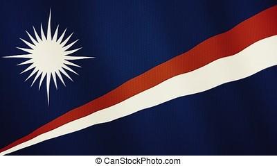 Marshall Islands flag waving animation. Full Screen. Symbol...