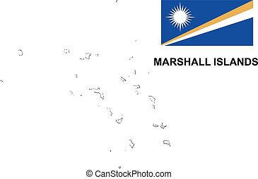 Marshall Islands map vector, Marshall Islands flag vector, isolated Marshall Islands