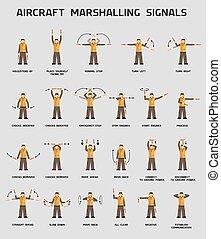 marshalling, flygplan, signalerar
