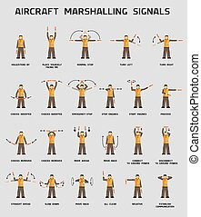 marshalling, vliegtuig, signalen