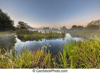 Marshland river system under foggy morning sunrise