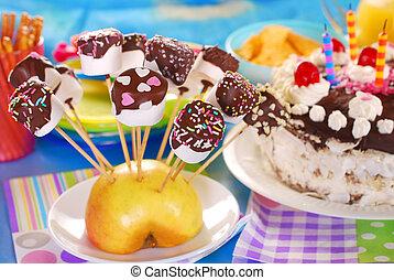 marshmallow, estouros, com, chocolate, e, coloridos,...