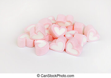 marshmallow heart shape with love concept on white background