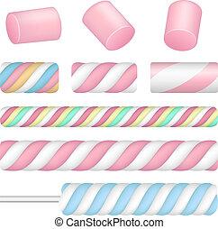 Marshmallow icon set, realistic style - Marshmallow icon...