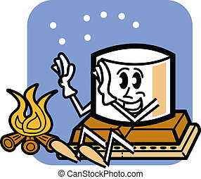 Cute, funny cartoon marshmallow man sitting on a chocolate bar next to a campfire under the stars while camping.