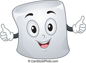 Mascot Illustration of a Marshmallow with Arms Wide Open