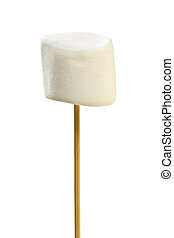 Marshmallow on skewer - Isolated closeup of marshmallow on a...