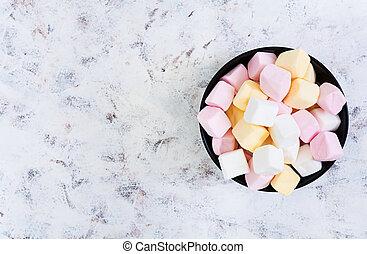 Marshmallow on white background. Top view