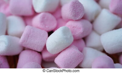 Marshmallow pink and white candy rotate background. -...