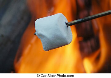 A marshmallow roasting over a open campfire