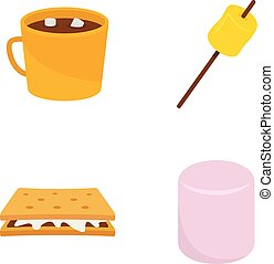 Marshmallow smores candy icons set flat style - Marshmallow...