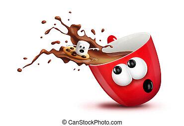 Marshmallow Surfing - A cartoon Christmas mug spilling hot...